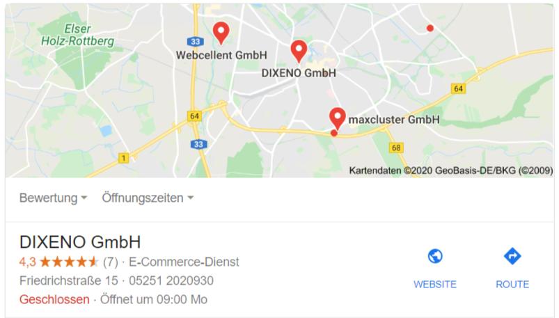 lokale suche sterne in google