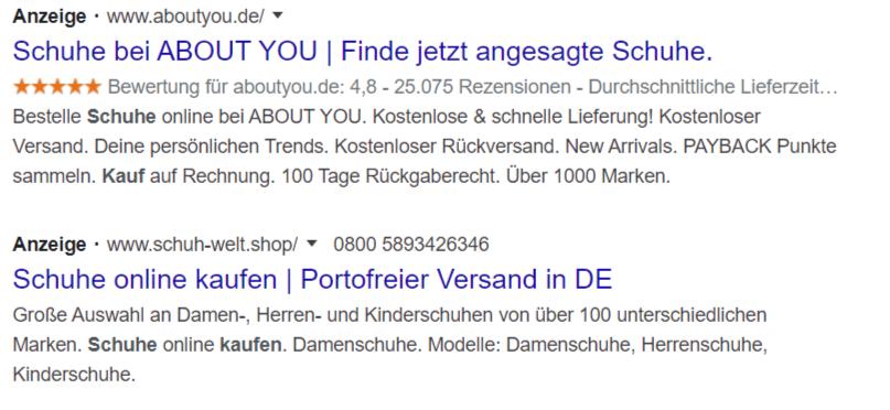 google ads sterne anzeigen